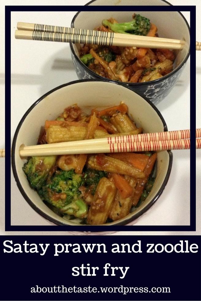 Satay prawn and zoodle stir fry
