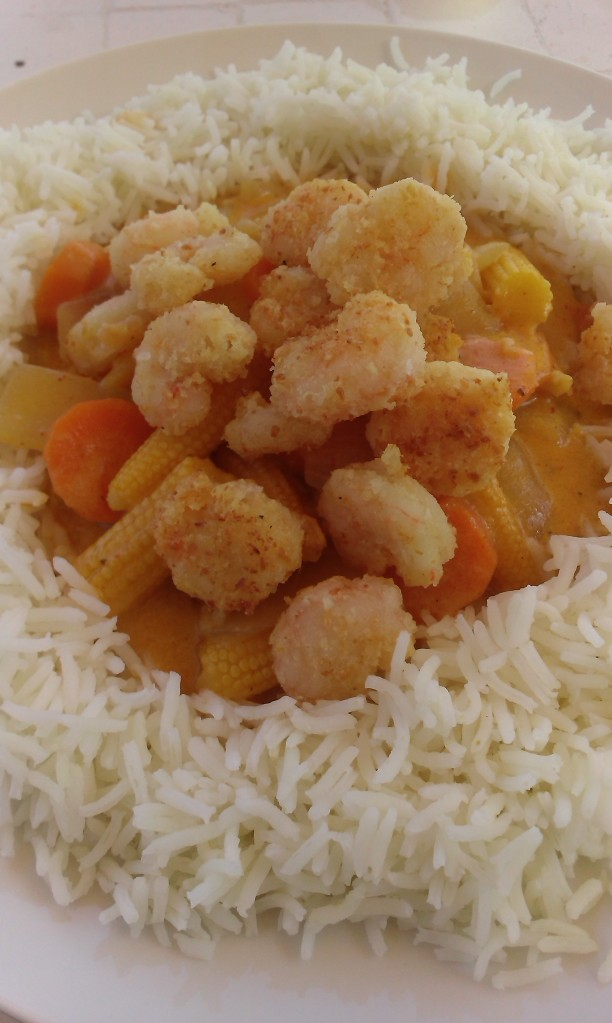 Coconut prawns with Thai red curry (1)