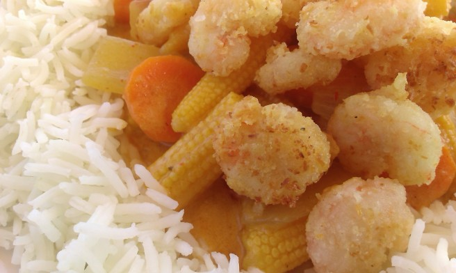 Coconut prawns with Thai red curry (2)